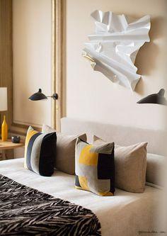 parisian bedroom design, interior design, pillows