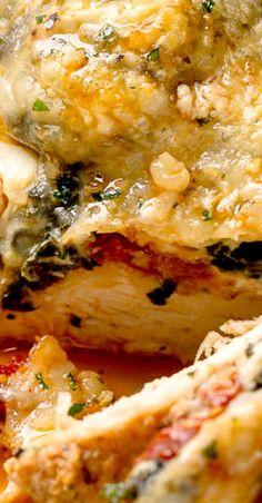 Spinach Chicken Casserole with Cream Cheese, Sun-Dried Tomatoes and Mozzarella