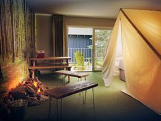 Basecamp Hotel (South Lake Tahoe, CA)...an indoor tent AND a fire pit? Oh yeah I'm DOWN.