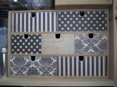 Ikea MOPPE (FIRA, MACKIS) mini chest of drawers: covered with scrapbooking paper #diy