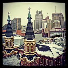 Old St Mary's and Detroit Skyline - *Credit: Down with Detroit // photo via Core Detroit
