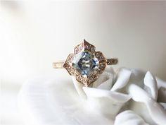 Mini Vintage Floral Aquamarine Engagement Ring 14K Yellow Gold 5mm Cushion Cut Aquamarine Engagement Ring/Unique Wedding Ring/Bridal  Set by ByLaris on Etsy https://www.etsy.com/listing/270581578/mini-vintage-floral-aquamarine