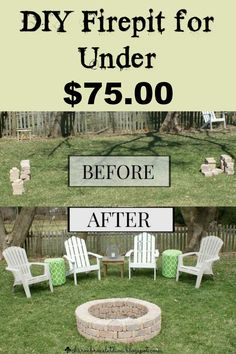 DIY firepit for under $75.00 ~ I have the perfect spot for this in my yard.