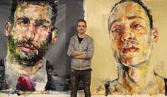 Artist Andrew Salgado paints for Harvey Nichols