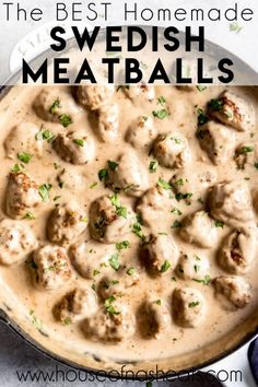 meatball recipes This recipe for easy, homemade Swedish Meatballs in a rich, creamy sauce is one of our favorite comfort foods! These really are the best Swedish meatballs in a simple gravy sauce that is made from scratch that Ive ever had! Swedish Meatball Recipes, Easy Swedish Meatballs, Ikea Swedish Meatball Sauce Recipe, Sweedish Meatballs, Ikea Meatball Sauce, Simple Meatball Recipe, Best Meatball Sauce, Swedish Meatball Gravy, Meatball Dinner Ideas