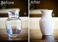 DIY milkglass! i love this and it's super simple. i need simple or i don't do it.  also, because you paint the outside, you can start with any color glass thrift store finds!