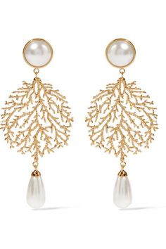 Balenciaga   Boucles d'oreilles clip en plaqué or et perles synthétiques…