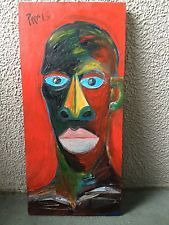 Original signed outsider art/ abstract expressionist portrait / Cesar Paris