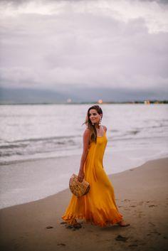 Gal Meets Glam Golden Sunset - Rhode Resort dress, Rebecca de Ravenel earrings & Cult Gaia bag