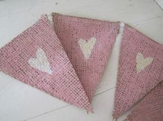 MINI Pink Painted White Glitter Hearts Burlap Bunting.... So cute for a baby girl nursery or baby girl shower