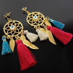aretes mujer oro golfilled borlas lindas joyas atrapasueños