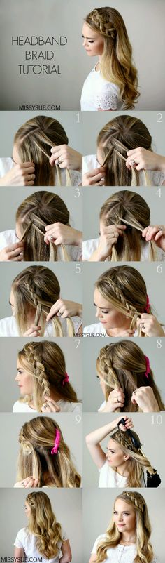 Headband Braid – Style Like Pro – Tutorial Per Capelli Braid Headband Tutorial, Headband Curls, Updo Tutorial, Hair Braiding Tutorial, Braid Hairband, Braid Crown, Prom Hair Tutorial, Headband Styles, Step By Step Hairstyles