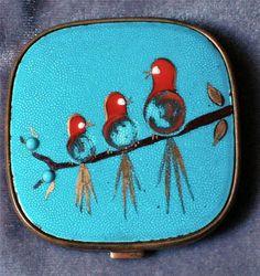 Vintage Enamel Compact Bird Design