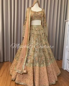 Nudes n Peaches, bridal lehenga for our gorgeous girl ➡ for more pictures and details, also our beautiful bride who looks absolutely… Indian Fashion Dresses, Indian Gowns Dresses, Dress Indian Style, Indian Designer Outfits, Indian Wedding Gowns, Indian Bridal Outfits, Indian Bridal Lehenga, Golden Bridal Lehenga, Wedding Lehnga