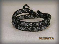 Wrap Men Leather Bracelet with Snowflake Pattern by Olisava