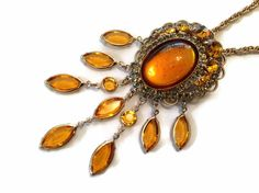 Vintage Amber Brooch Pendant Hobe Dangle by EclecticVintager,