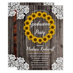 Sweet, rustic lace and sunflowers on wood look background photo graduation party invitation. Design by Holiday Hearts Designs (rights reserved) with template photo courtesy of Ionut Comanici at Unsplash. Graduation Party Themes, Graduation Party Invitations, Grad Parties, Graduation Gifts, Graduation Ideas, Card Invitation, Zazzle Invitations, Invitation Design, Invitation Ideas
