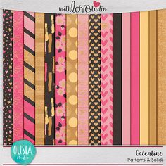 Galentine - Patterns & Solids from Ousia Designs. Celebrate your best lady friends in a chic, shimmery blend of pink and gold and document those fun nights out together! Just imagine how beautiful your digital scrapbooking or pocket page will look like when you use this gorgeous kit.