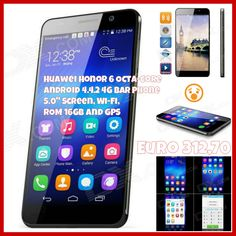 "Huawei Honor 6 Octa-core Android 4.4.2 4G Bar Phone w/ 5.0"" Screen, Wi-Fi, ROM 16GB and GPS - Black Euro  312,70"