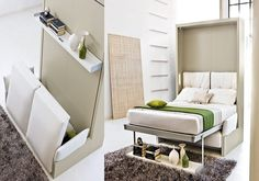 Space Saving Bed - Nuovoliola 10 - IcreativeD, ok - who's shelter will be small - mine therefore I'm always looking for inspiration on how to combine and compact things like beds, places to sit, etc.  THIS IS PERFECT!