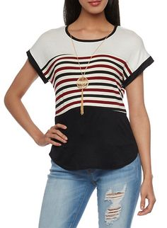 Striped Color Block Top with Necklace,BURGUNDY