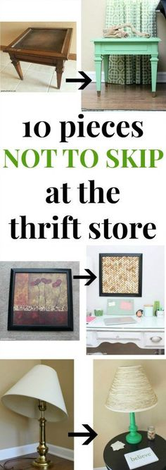 pieces not to skip at the thrift store Don't skip these! The 10 best pieces to always buy at the thrift store for easy DIY makeovers on the cheap! Great DIY furniture makeovers, DIY lamp makeovers, DIY picture frame makeovers and more!Don't skip these! Thrift Store Shopping, Thrift Store Crafts, Thrift Stores, Thrift Store Finds, Thrift Store Decorating, Thrift Store Refashion, Goodwill Finds, Online Thrift Store, Thrift Store Furniture
