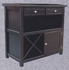 drawer for liquor, wine bottle area and place to hang wine glasses. General layout good!