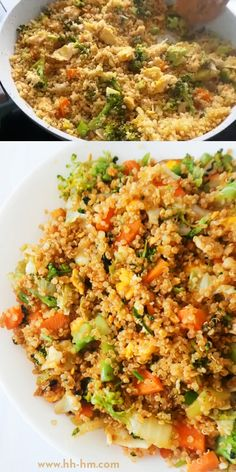 This super easy fried rice recipe uses quinoa to make this tasty easy dinner recipe healthier and more nutritious! Chicken Quinoa Recipes, Quinoa Recipes Easy, Couscous Recipes, Easy Casserole Recipes, Lunch Recipes, Easy Dinner Recipes, Vegetarian Recipes, Easy Meals, Cooking Recipes