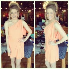 Just in from BCBG!  Peach one shoulder dress- $228  Available at SteamRoller Blues