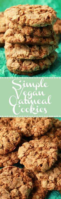 Vegan Oatmeal Cookies. Brown sugar sweetened and cinnamon infused deliciousness! Vegan | Vegan Cookies | Vegan Food | Vegan Desserts