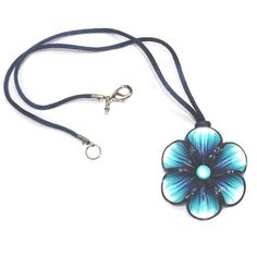 Blue necklace Millefiori flower in a variety of blues by ShuliDesigns