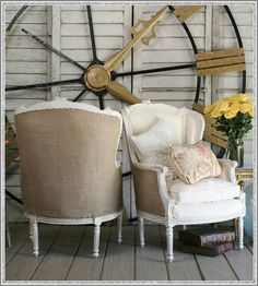 Burlap backed chairs. Perfect!