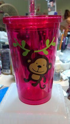 Monkey vinyl tumbler for a gift
