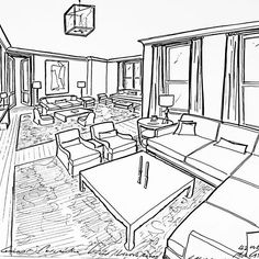 Concept perspective view of a living room for a project #garrowkedigian #interiors #interiordesign #furnitureplan #furniturelayout #plan #layout #layoutplan #handdrawn #drawing #drawings #sectionalsofa #sofa #sofas #coffeetable #livingroom #livingrooms #mantle #manhattanapartment #newyorkhomes #newyork #newyorkapartment #fireplace #firesideseating