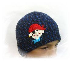 gehäkelte Mütze Pirat    Häkelmütze, Kindermütze, Babymütze