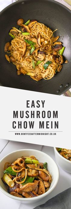 Easy mushroom chow mein adapt for gf Whole Food Recipes, Cooking Recipes, Healthy Recipes, Vegetarian Chinese Recipes, Vegetarian Recipes Noodles, Recipes Dinner, Easy Vegetarian Meals, Health Food Recipes, Healthy Vegan Meals