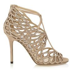 Jimmy Choo FYONN 100  Sparkle cutout strappy gold open-toe stiletto