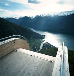 The Aurland Lookout, also known as Stegastein Viewpoint, an award winning skywalk over looking Sogn Fjiord