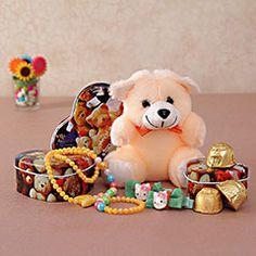 Rakhi Gifts for Sister - Rakhi Return Gifts to Sister Online Rakhi Festival, Rakhi Gifts For Sister, Raksha Bandhan, Heart Shapes, Sisters, Teddy Bear, Toys, Animals, Activity Toys