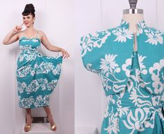 Your place to buy and sell all things handmade Tiki Dress, Sarong Dress, Vintage Hawaiian, Pin Up Dresses, Hawaiian Print, Princess Seam, Skirt Fashion, Dress Patterns, Dress Set