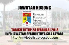 Jawatan Kosong di Universiti Kebangsaan Malaysia (UKM) - 28 Februari 2018  Jawatan kosong terkini di Universiti Kebangsaan Malaysia (UKM) Februari 2018. Permohonan adalah dipelawa daripada warganegara Malaysia yang berkelayakan untuk mengisi kekosongan jawatan kosong terkini di Universiti Kebangsaan Malaysia (UKM) sebagai :  1. PEGAWAI TEKNOLOGI MAKLUMAT F41 Tarikh tutup permohonan 28 Februari 2018 Lokasi : Selangor Sektor : Kerajaan  Cara memohon;  Pemohon yang berminat perlu mengemukakan…