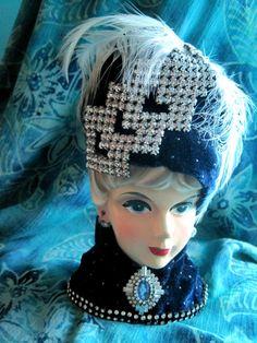 Vintage Rubens Jeweled Ladyhead Vase Lady Head by MoonlightMartini, $200.00