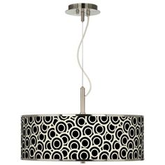 "Black and Ivory Circlets Giclee Glow 20"" Wide Pendant Light 