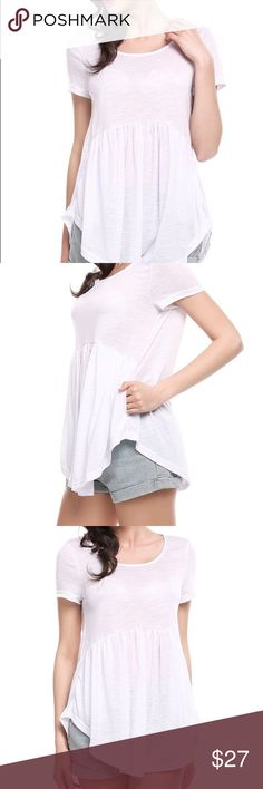 """Flowing summer blouse🌸 NEW WHITE peplum front top light flowing easy wear w/those shorts you love for a quick casual day out.  95% polyester 5% spandex Approx. Shoulders 14.5"""" Chest 34.5"""" length 27.5"""" check measurements no returns. Tops Blouses"""