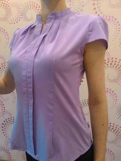 Tienda Online Elegante Formal del V-cuello de la blusa de las mujeres OL moda de verano camisa de gasa manga corta delgada señoras de la oficina más el tamaño tops Lavanda Blanco | Aliexpress móvil                                                                                                                                                                                 Más
