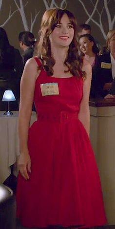 Zooey Deschanel's Red scoop neck belted dress on New Girl.  Outfit Details: http://wwzdw.com/z/4720/ #WWZDW