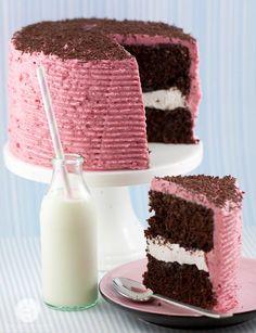 Raspberry Marshmallow Chocolate Cake