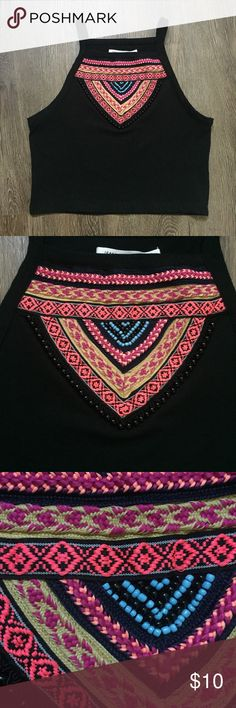 H&M Coachella Collection Tribal Aztec Crop Top Such a fun piece from the H&M Coachella collection! Black crop top with tribal print & beading. Perfect to pair with jeans or shorts. Size Small. 100% Polyester. H&M Tops Crop Tops
