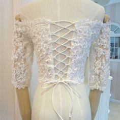 2015-Sheer-White-Beaded-Half-Sleeve-Lace-Bridal-Wedding-Jacket-Shawl-Bolero-Wrap