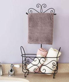 Scroll Bathroom Stand Metal Organizer Towel Rack with Basket  stonecountyironworks.com